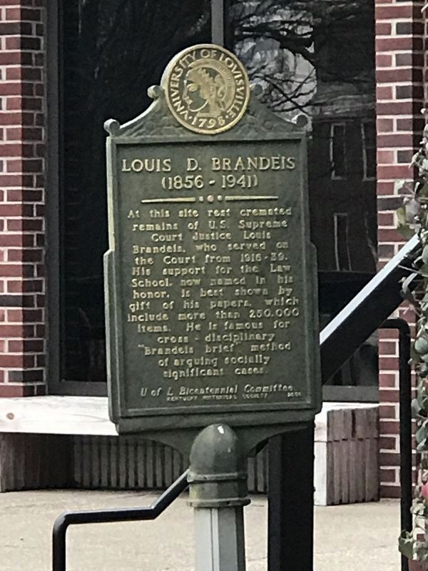 Louis D. Brandeis (1856-1941) Marker (Side A) image. Click for full size.