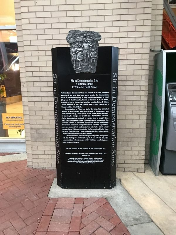 Sit-In Demonstration Site - Kaufman-Straus - 427 South Fourth Street Marker image. Click for full size.