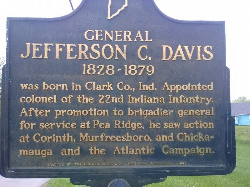 General Jefferson C. Davis 1828-1879 Marker image. Click for full size.