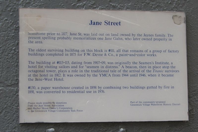 Jane Street plaque image. Click for full size.