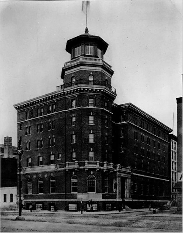 The Seaman's Institute Hotel, with the original beacon tower image. Click for full size.