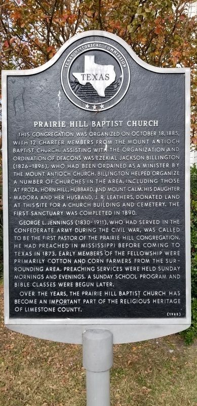 Prairie Hill Baptist Church Marker image. Click for full size.