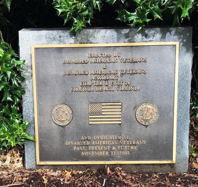 Disabled American Veterans Past, Present & Future Marker image. Click for full size.