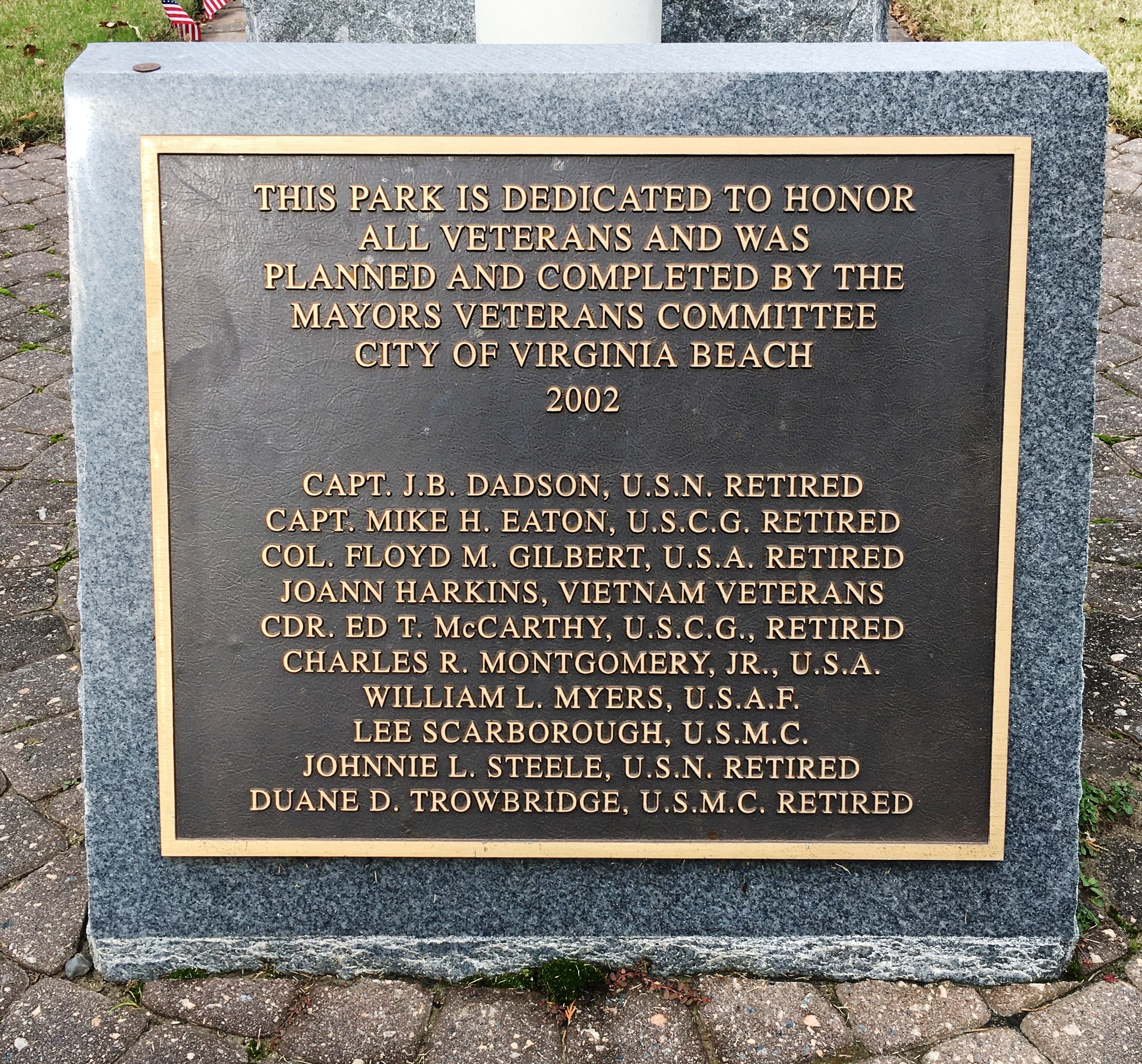 Veterans Memorial Dedication Plaque