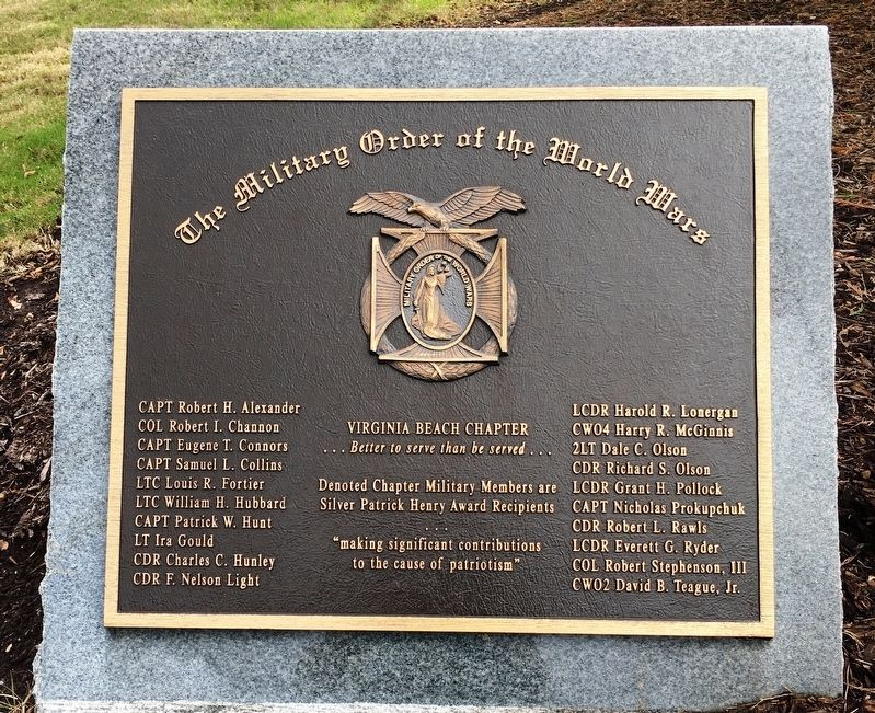 The Military Order of the World Wars Marker image. Click for full size.