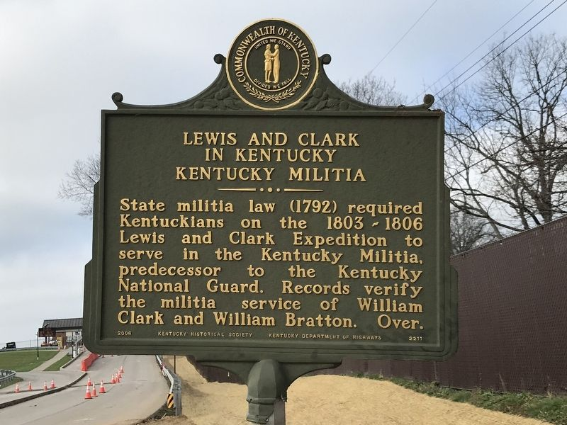 Lewis and Clark in Kentucky — Kentucky Militia Marker (Side A) image. Click for full size.