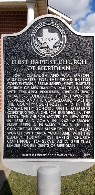 First Baptist Church of Meridian Marker image. Click for full size.