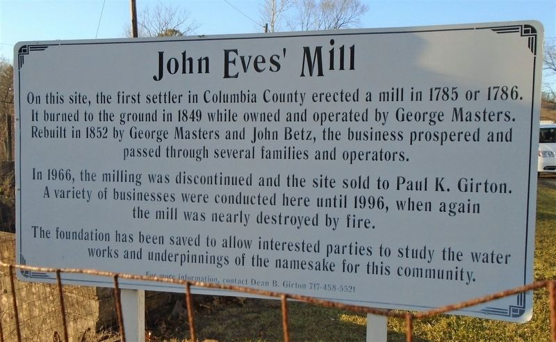 John Eves' Mill Marker image. Click for full size.