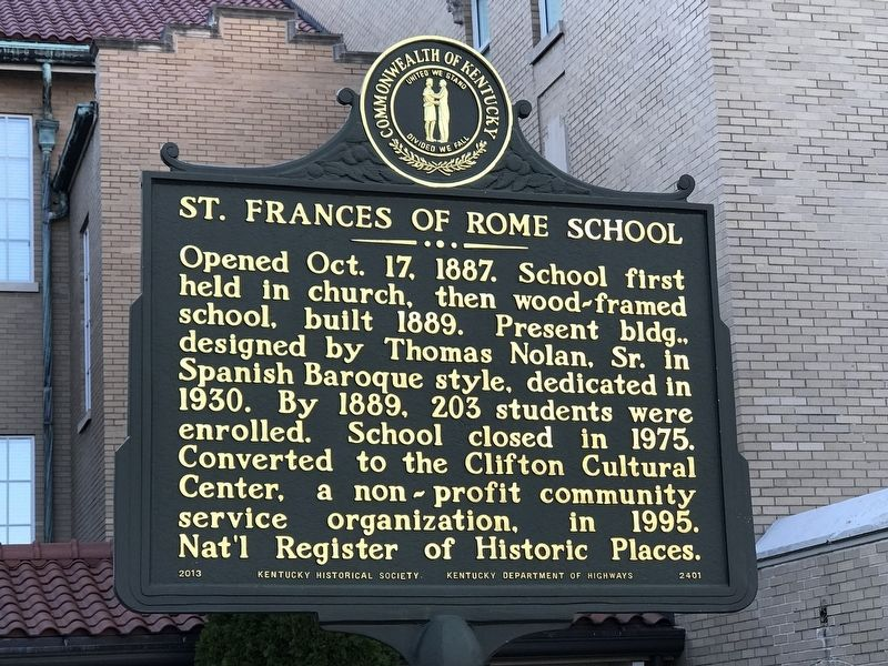 St. Frances of Rome School Marker image. Click for full size.