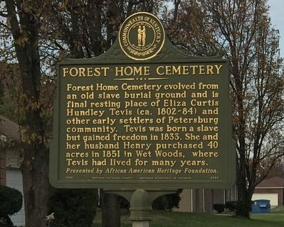 Forest Home Cemetery Marker (Side A) image. Click for full size.