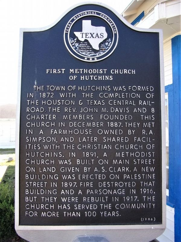 First Methodist Church of Hutchins Marker image. Click for full size.