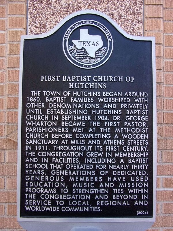 First Baptist Church of Hutchins Marker image. Click for full size.