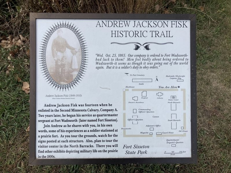 Andrew Jackson Fisk Historic Trail Marker image. Click for full size.