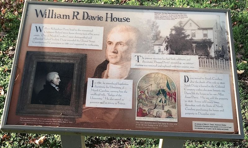 William R. Davie House Marker image. Click for full size.