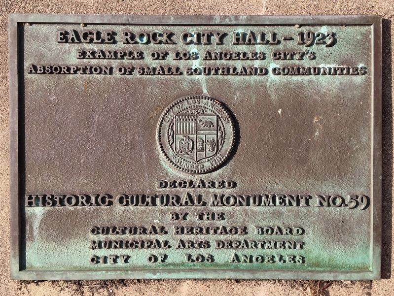 Eagle Rock City Hall Marker image. Click for full size.