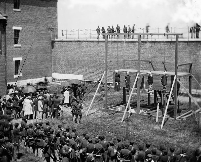 Hanging Hooded Bodies of the Four Lincoln Conspirators image. Click for full size.