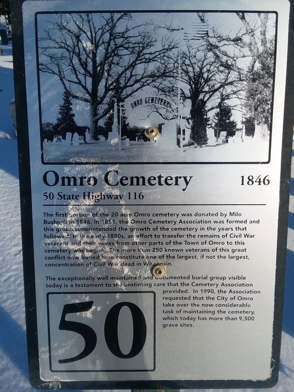 Omro Cemetery Marker image. Click for full size.