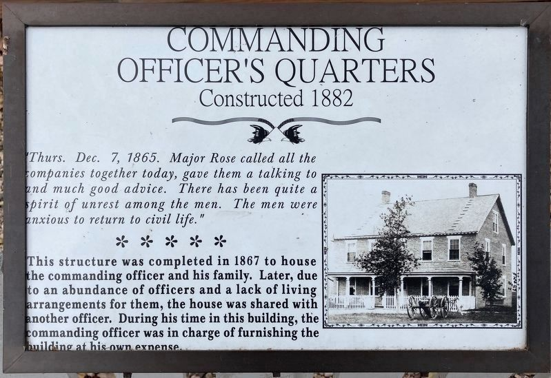 Commanding Officer's Quarters Marker (replacement) image. Click for full size.