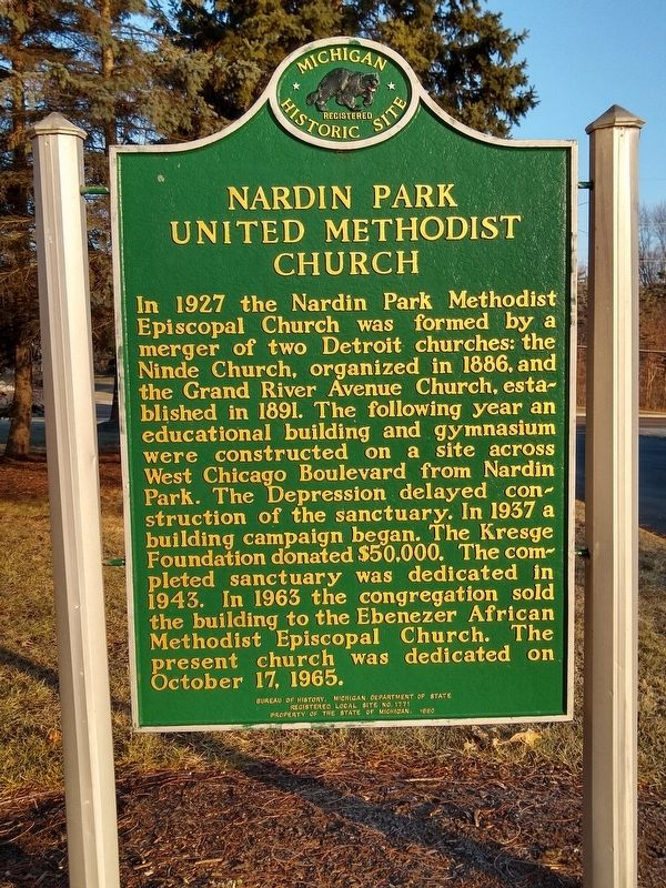 Nardin Park United Methodist Church Marker image. Click for full size.