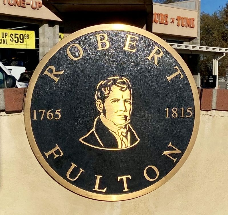 Robert Fulton plaque on cement wall between the two copies of the marker image. Click for full size.