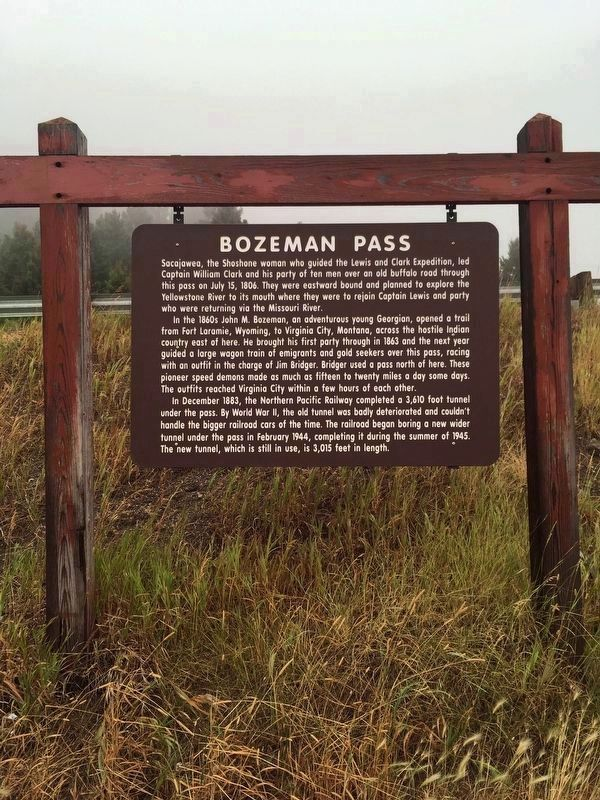 Bozeman Pass Marker image. Click for full size.
