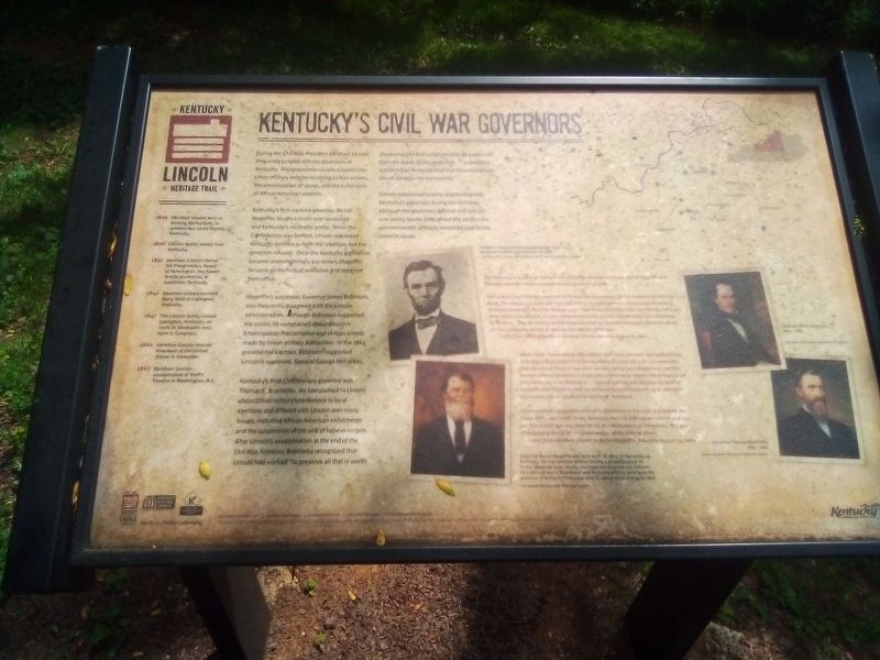 Kentucky's Civil War Govners Marker image. Click for full size.