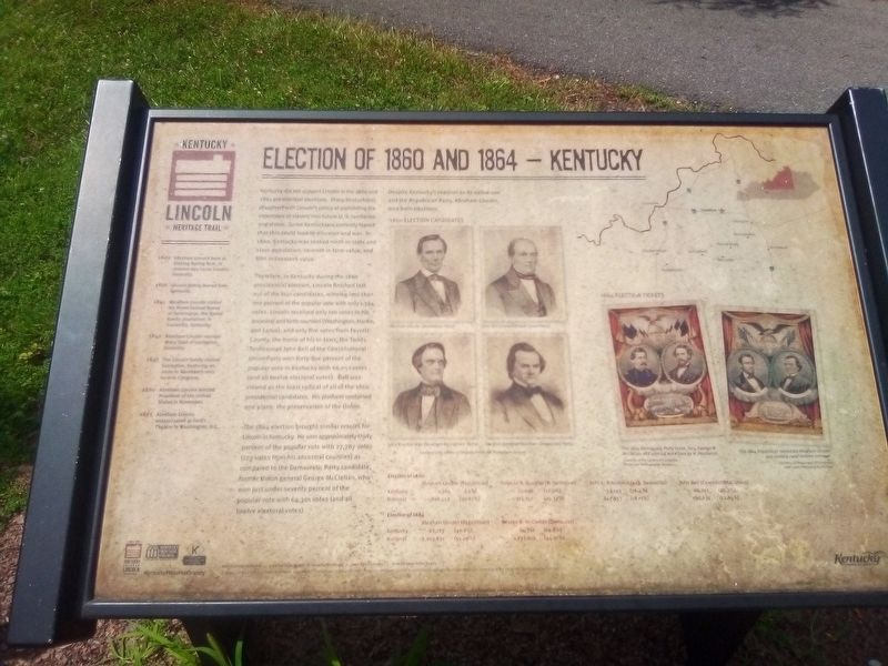 Election Of 1860 And 1864 - Kentucky Marker image. Click for full size.