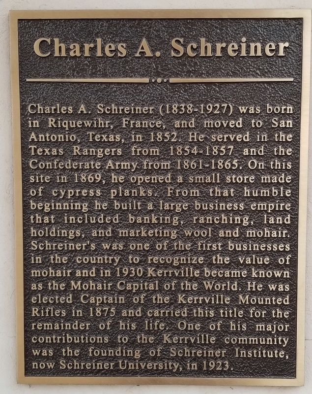 Charles A. Schreiner Marker image. Click for full size.