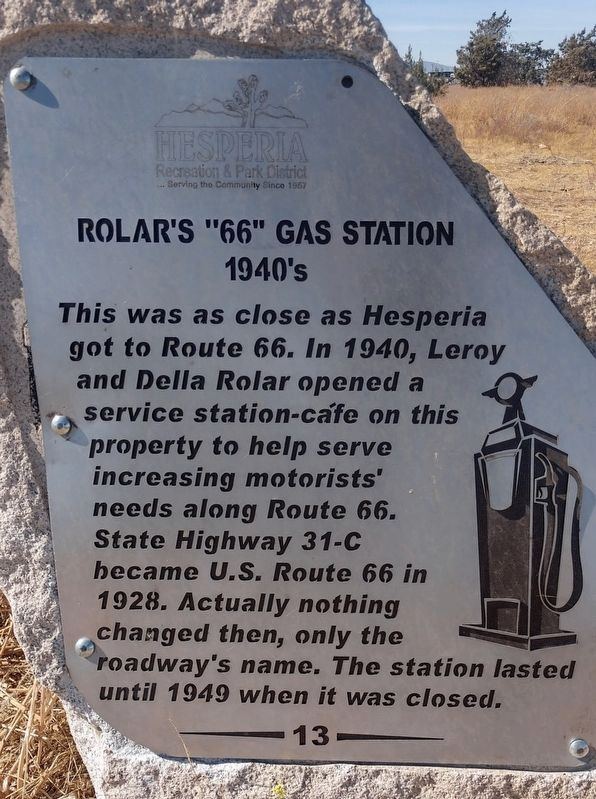"Rolar's ""66"" Gas Station Marker image. Click for full size."