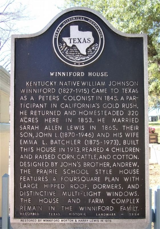 Winniford House Marker image. Click for full size.