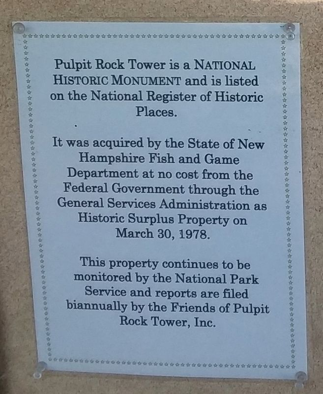 Key Facts about Pulpit Rock Tower Marker image. Click for full size.