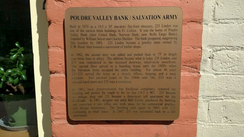 Poudre Valley Bank/Salvation Army Marker image. Click for full size.