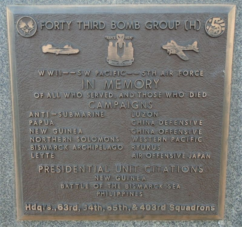 Forty Third Bomb Group (H) Marker image. Click for full size.