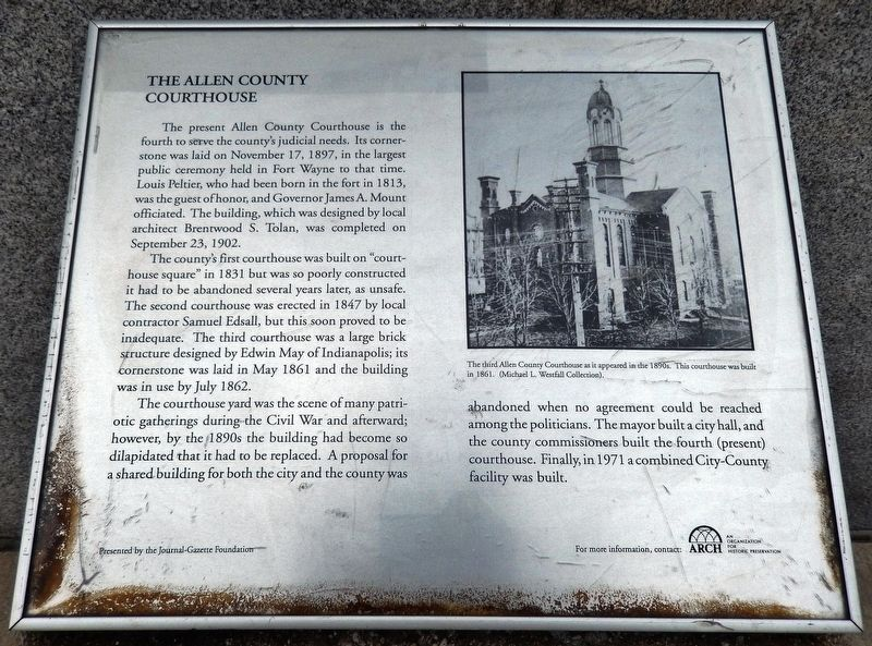 The Allen County Courthouse Marker image. Click for full size.