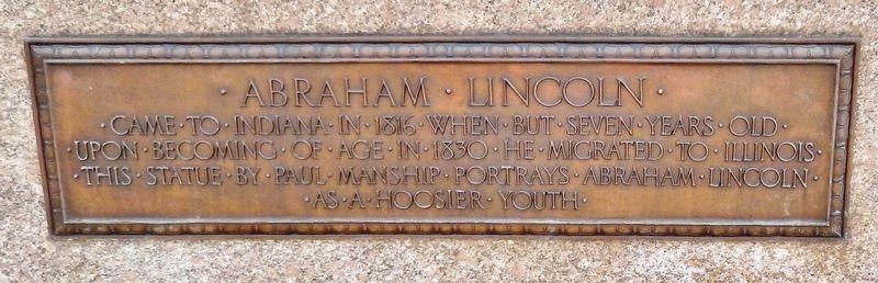 Abraham Lincoln • The Hoosier Youth Marker image. Click for full size.
