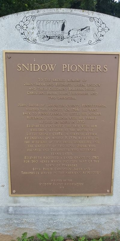 Snidow Pioneers Marker image. Click for full size.
