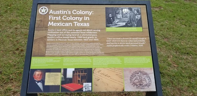 Austin's Colony: First Colony in Mexican Texas Marker image. Click for full size.