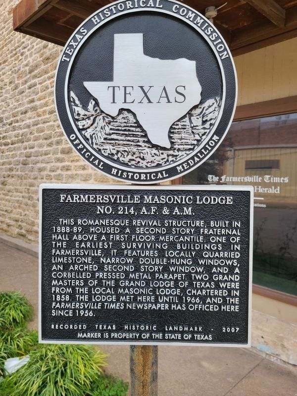 Farmersville Masonic Lodge Marker image. Click for full size.