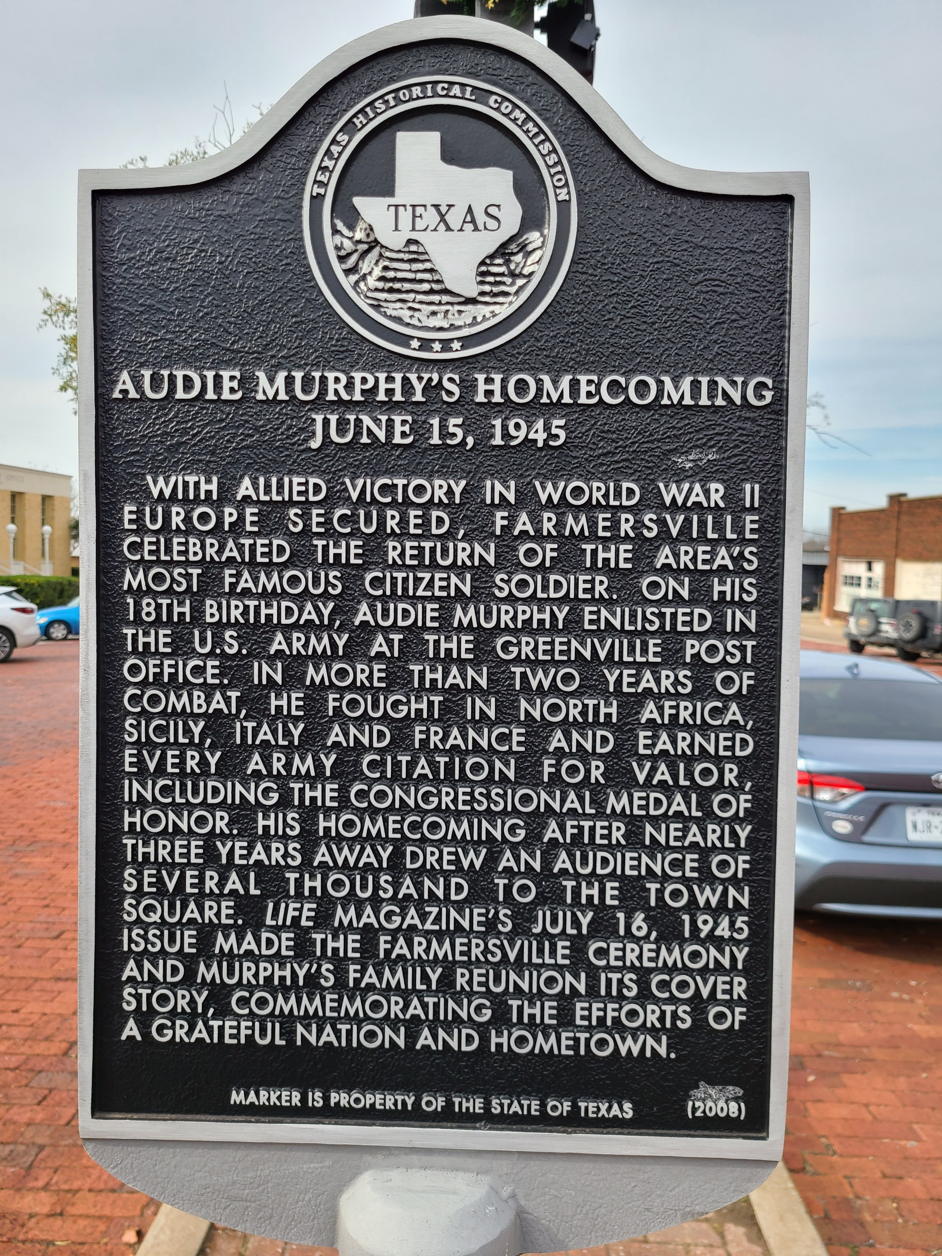 Audie Murphy's Homecoming Marker