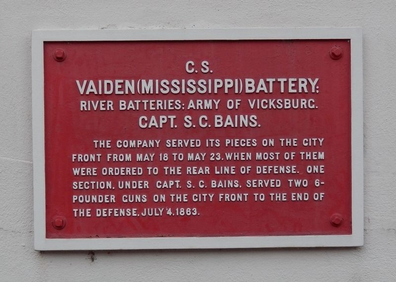 <small>C. S.</small> Vaiden (Mississippi) Battery: Marker image. Click for full size.