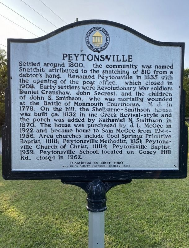 Peytonsville Marker image. Click for full size.