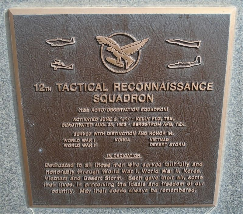 12th Tactical Reconnaissance Squadron Marker image. Click for full size.