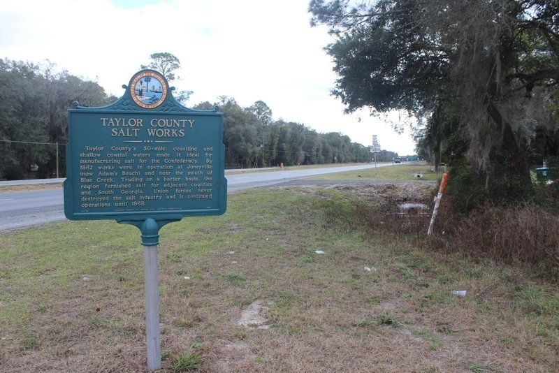 Taylor County Salt Works Marker looking south on US 19/Alt 27/98 image. Click for full size.