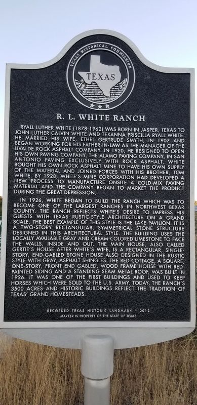 R.L. White Ranch Marker image. Click for full size.