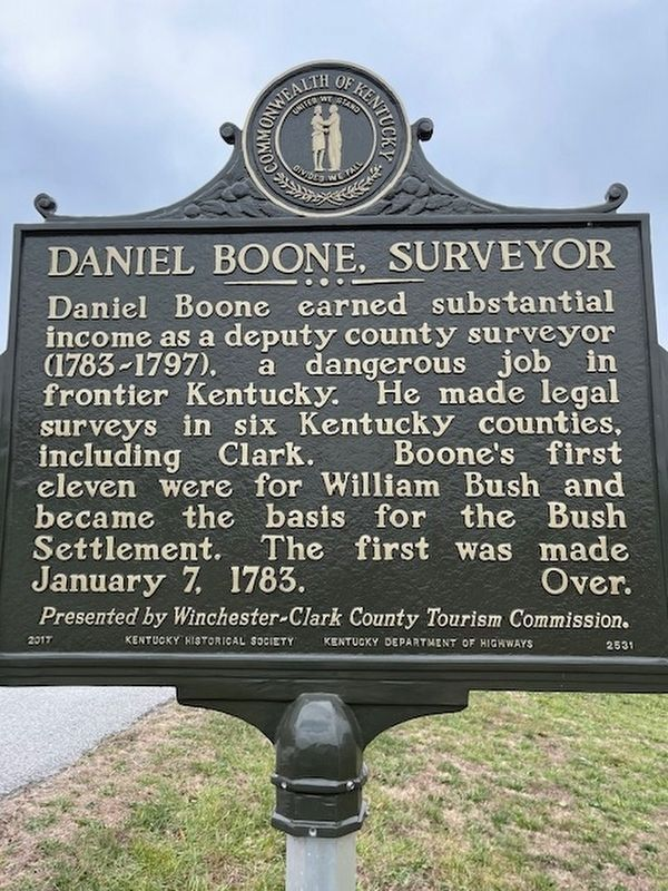 Daniel Boone, Surveyor side of the marker image. Click for full size.