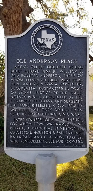 Old Anderson Place Marker image. Click for full size.
