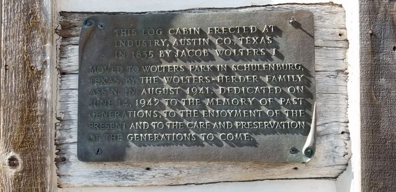 Jacob Wolters Log Cabin Marker image. Click for full size.