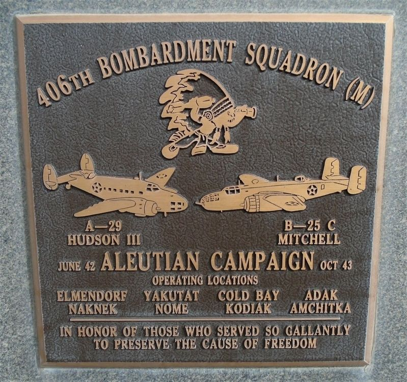 406th Bombardment Squadron (M) Marker image. Click for full size.