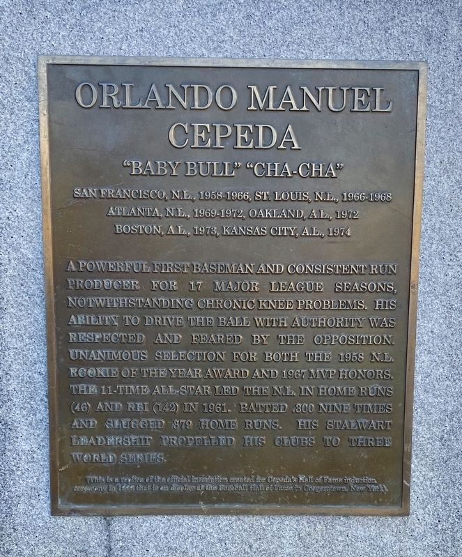 Orlando Manuel Cepeda Marker - main panel image. Click for full size.