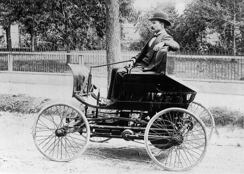"Elwood Hayes in his ""Pioneer"", the first commerially-produced gasoline-powered automobile image. Click for full size."